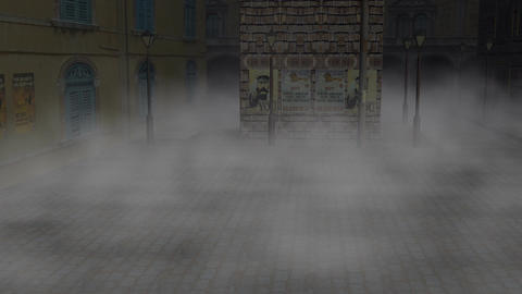 Fog In An Old Town: Looping stock footage