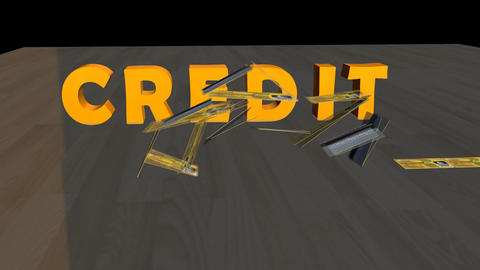 Falling House of Credit Cards Animation