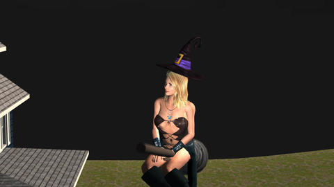 Sexy Witch on Turbo Broom: Camera on Face Animation