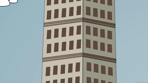 Cartoon Skyscraper, Camera Pan Animation