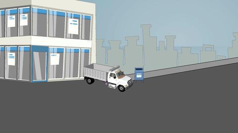 Cartoon Truck Exploding on City Street Stock Video Footage