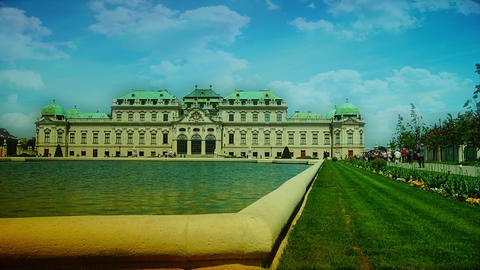 Belvedere Palace Fountain And Garden, Vienna, Aust stock footage