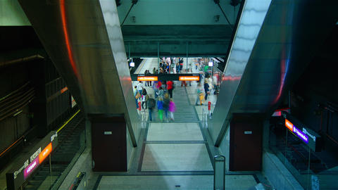 People hurry in Metro station in Vienna,Austria. T Footage
