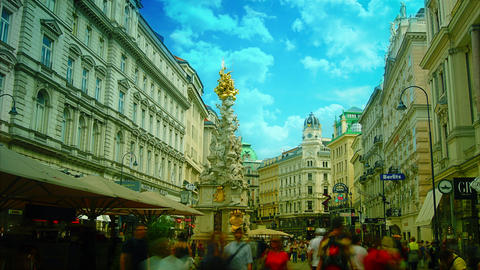 Column on Graben, old town main street in Vienna Footage
