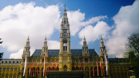 Clouds in Viena, City hall. Austria, time lapse,4k Footage