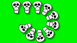 few different sizes of skulls enters from left Animation