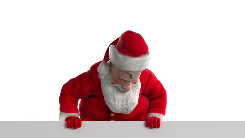 Santa claus looks from behind Animation