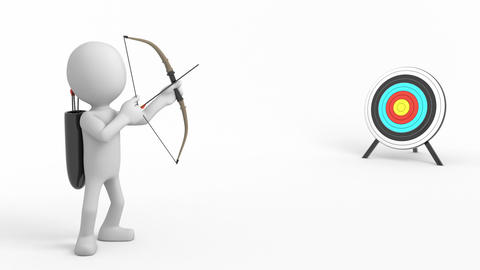 Archery, 3d cartoon character Animation