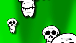 A few different sizes of skulls comes and goes fro Animation