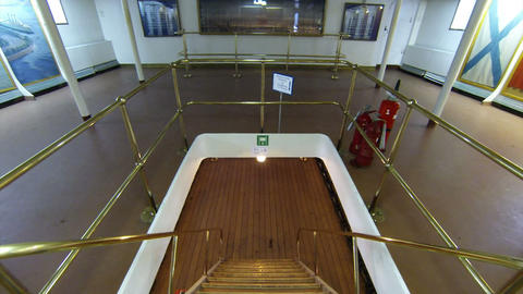 Staircase between decks on the cruiser Aurora Footage