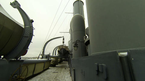Ship's deck of the cruiser Aurora Footage