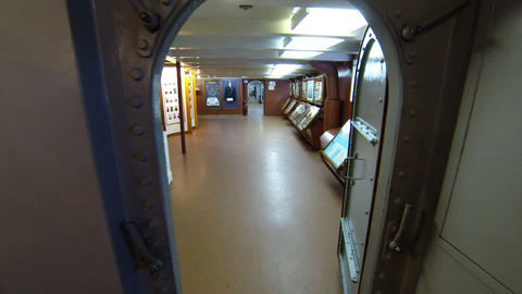 Exhibition At The Museum Of The Deck Of The Cruise stock footage