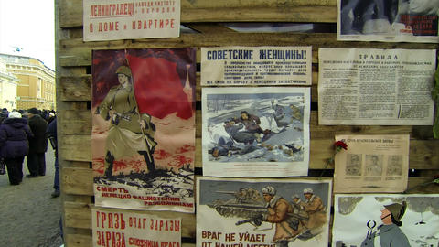 Propaganda posters in the blockade Leningrad Live Action