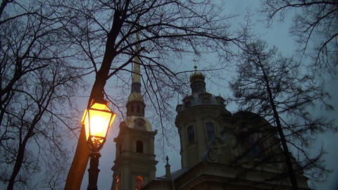 Lantern of the Peter and Paul fortress in St. Pete Footage
