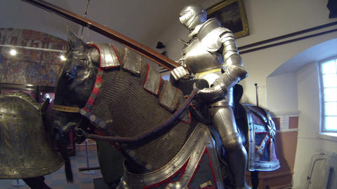 A knight in armor on horseback Footage