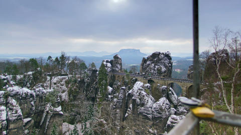 Germany Saxon Switzerland Bastei Clouds Time 11288 stock footage