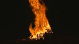 Fire pyre long distance shot Footage