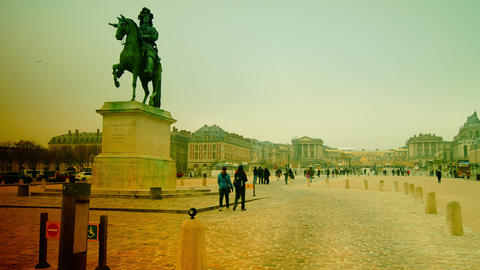 Equestrian statue of Louis XIV outside Versailles  Footage
