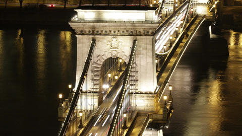 4K Budapest Hungary Chain Bridge Night Timelapse 1 Footage