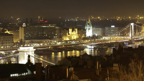 4K Budapest Hungary Downtown Night Timelapse 31 Footage