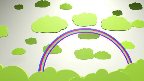 4K Cartoony Clouds and Rainbow 2 Animation