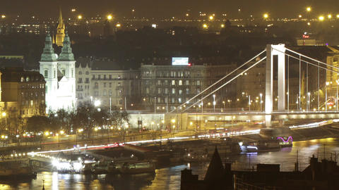 Budapest Hungary Downtown Night Timelapse 68 Footage