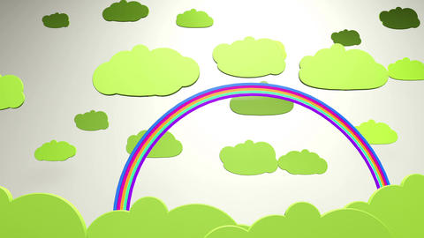 Cartoony Clouds and Rainbow 2 Animation
