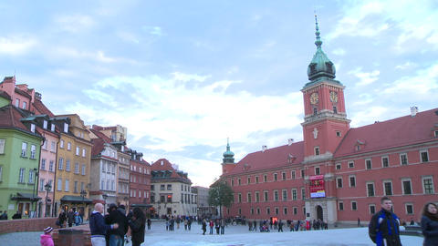 Old Town/Royal Castle In Warsaw - Time Lapse /inte stock footage