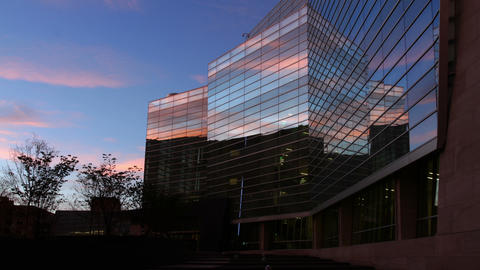 Cloud Reflections in Office Building Footage