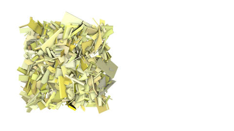 3d abstract yellow spiked shape on white Animation