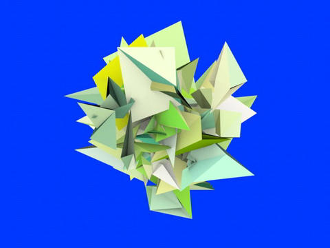 3d abstract green spiked shape on blue Animation