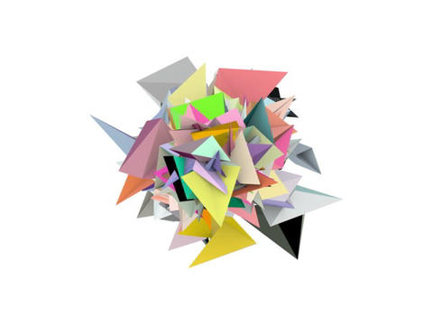 3d abstract rainbow color spiked shape on white Animation
