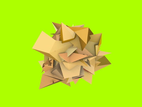 3d abstract orange spiked shape on green Animation