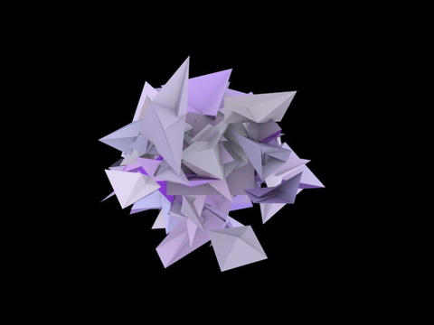 3d abstract purple spiked shape on black Animation