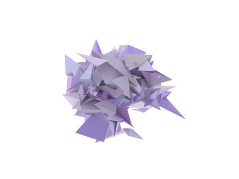 3d abstract purple spiked shape on white Animation