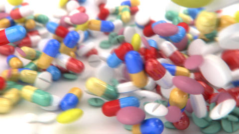 Pills And Capsules Dropped On A Table, Slides Into stock footage
