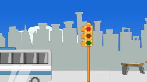 Cartoon Street (POV of walking or driving) Animation