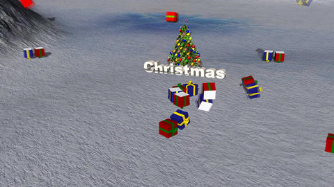 Christmas Presents Falling on Snowy Landscape Stock Video Footage