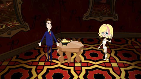 Attractive Blond Genie & Magic Lantern Animation