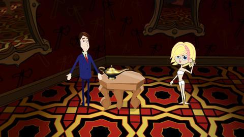 Attractive Blond Genie & Magic Lantern Animation
