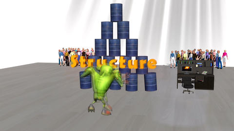 """Monster Attacking Office """"Structure"""" Stock Video Footage"""