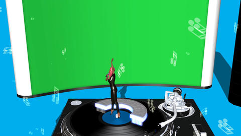 Singer Performing on Turntable (With Green Screen  Animation
