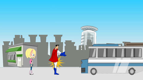 Super Hero Saves Blond from City Bus Animation