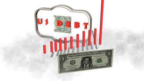 U.S. Debt with Unrolling Obama Dollar Animation