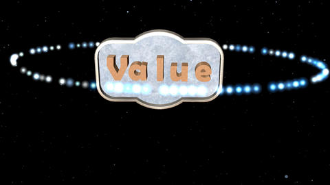 """Value"" Sign with Particle Effect: Looping Animation"