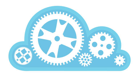 Cloud Computing Turning Gears Animation