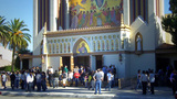 People Exiting From Sunday Mass At Catholic Church stock footage