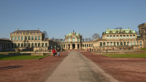 Germany Zwinger Palace Hyper Time Lapse Front 1129 stock footage