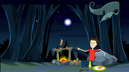 Sitting At The Campfire Animation: Looping stock footage