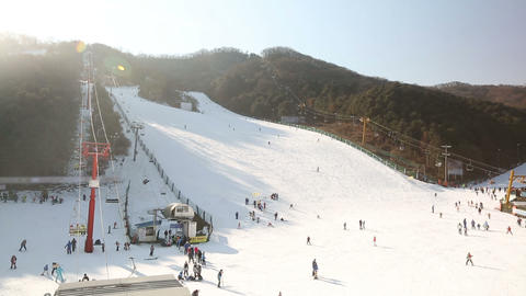 Korea Ski Slope 1 stock footage